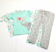 Carters Outfit Elephant 4 Piece Set 2T Pants Shirts Short Sleeve Toddler  *