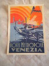 Vintage Luggage label Hotel Metropole venezia venice 1950s