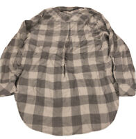 $120 Billy T Women's Gray White Plaid Flannel Cotton Button Top Size L