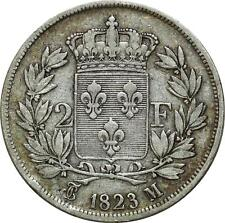 O5151 Rare 2 Francs Charles X 1823 M Toulouse Argent Silver ->Make offer