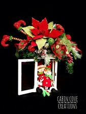 Christmas Floral Arrangement decorated Lantern Centerpiece Elf legs Elves CUSTOM