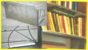 4 STEEL HANGING shelves Chrome perforated CUSTOM books INDUSTRIAL kitchen bath