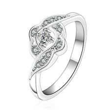 Silver Plated Curly Women Flower Zircon engagement ring 17 mm size O FR245