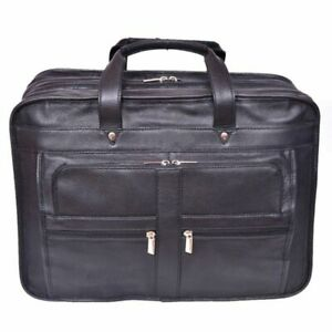 Leather Bag Laptop Messenger Briefcase Work Cabin Travel Cowhide Genuine Office