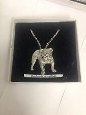 """Bulldog pp-d19 Perro Emblema De Plata Platino Plateado Collar 18 """""""