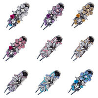 Women's Vintage Flower Barrette Hair Clips Hairpin Hair Pin Crystal Accessories
