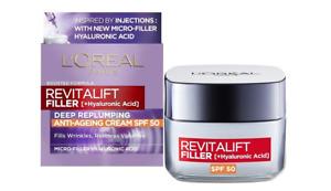 L'Oreal Face Cream Revitalift Filler Anti Age SPF50 Hyaluronic Acid Wrinkle 50ml
