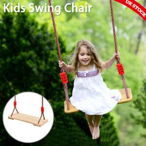Wooden Garden Swing Seat Outdoor Kids Adults Swing Pine Chair Adjustable Indoor