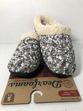 Dearfoams Women's Boucle Clog w/ Faux Shearling M.F. Slippers Sleet Size  5-6