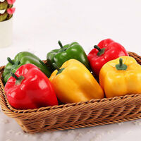 3pcs Realistic Artificial Simulated Peppers Fake Vegetables Kitchen Decoration