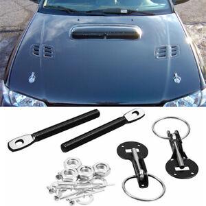 Black Zinc Steel Hood lock Pin Mount Security Hardware Latch Kit For Honda Acura
