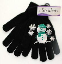 Soothers - Ladies Christmas Gloves, One Size, Black with White/Green Print - NEW
