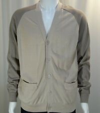 FIVE FOUR POGGY THE MAN~NWT!!~MEN'S L 100% COTTON 2 TONED KHAKI GOLF CARDIGAN