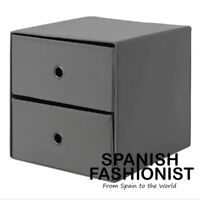 IKEA FLARRA BOX STORAGE Mini chest with 2 drawers, dark grey, 33x38 cm