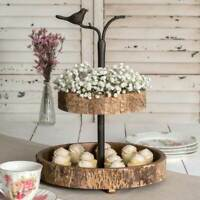 Decorative Two Tiered Tray Bird and Birch Rustic Farmhouse Collapsible