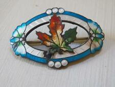 VINTAGE EARLY STERLING GUILLOCHE ENAMEL PIN MAPLE LEAF ? CANADA
