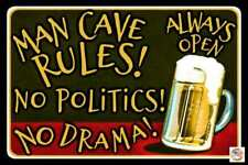 MAN CAVE RULES! MADE IN USA METAL SIGN 8X12 FUNNY DECOR BAR DRINKING NO POLITICS