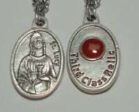 St Lucy 3rd Class Relic Holy Medal on Chain Patron of Eye Diseases & the Blind