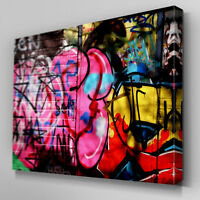 AB094 Pink Graffitti Wall Canvas Wall Art Ready to Hang Picture Print Large