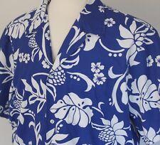 Vintage Men's XL Rai Nani Blue & White Floral Aloha Hawaiian Shirt