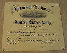 """Pre WWII 1941 U.S. NAVY Certificate~""""HONORABLE DISCHARGE""""~Musician/TATTOOS~"""
