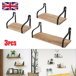 Set of 3 Industrial Wooden Metal Wall Floating Shelf Storage Shelving Unit