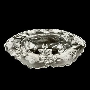 Vintage Bleikrstall Lead  Crystal Footed Candy Dish Etched Frosted Flowers Oval