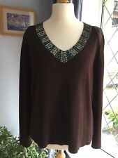 Ladies top by ROMAN brown with sequins & Beads around neck. ex con L/XL