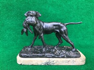 Vintage Bronze Sculpture Pointer Dog Holding Hare on Marble - Signed Mene