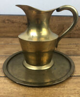 Vintage Brass Pitcher With Brass Tray Made in India 6 Inches Tall