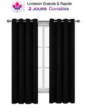 """2 Rideaux de fenêtres Occultants à Oeillets  52"""" x 45"""" Bloque la Lumière UV Noir"""