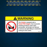 Tuned VTEC Engine Warning No Bra Self Adhesive Sticker Decal
