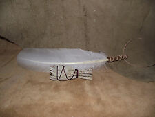SAGE WHITE SMUDGE FEATHER FAN HANDMADE LEATHER HANDLE AND WHITE SAGE SMUDGING
