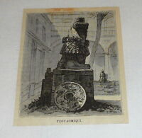 1878 small magazine engraving ~ STATUE OF TEOYAOMIQUI AZTEC GOD OF LOST SOULS