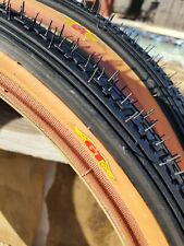 New Set GT Tires 20 x 1.75 Black/Tan Lp-5 bmx bike old school dyno performer nos