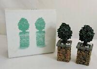 Dept 56 Snow Village ~ Stone Corner Posts With Holly Tree ~ MIB 52649