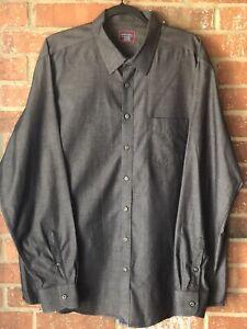 Untuckit Men's Shirt XX-Large Tall XXL Regular Dark Gray Long Sleeve Button Down