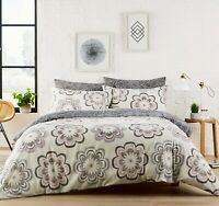 Grey Pink Printed Duvet Set Quilt Cover Reversible Bedding Single Double King