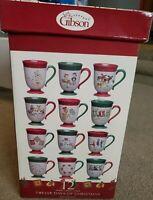 NIB Gibson 12 Days Of Christmas 12 Oz Mugs Coffee Cups Set Debi Hron's