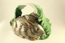 Bordallo Pinheiro Portugal Majolica Pottery Rabbit Bunny Game Platter Dish Cover