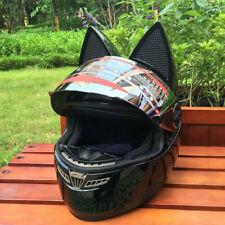 Cool Black Motorcycle Buckle Helmet Moto Ear cat Helmet Full Face 56CM-57CM
