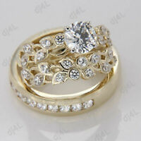 Diamond His Her Trio Engagement Ring Set Wedding Bridal Band 14k Yellow Gold FN
