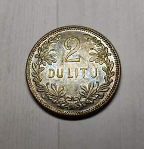 Lithuania 2 Litu 1925 Nice Toned lustrous high grade coin