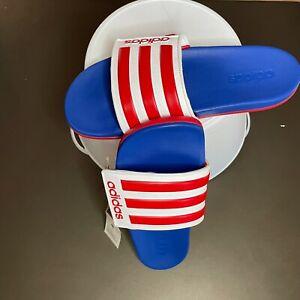 adidasMens Adilette Comfort Slide Sandal | EG1346 | Red/White/Blue | Size 9