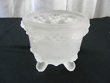 Vintage Frosted Glass Cany Dish Bowl Grape Leaf Pattern Footed Jeannette