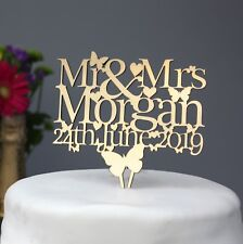 WEDDING/ANNIVERSARY CAKE TOPPER DECORATION PERSONALISED WITH NAME AND DATE