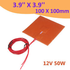 12V 50W 3D Printer Silicone Heater Heated Pad Heating Mat 3.9''X3.9'' 100X100mm