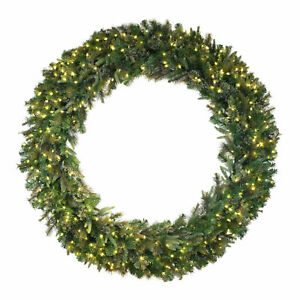 Vickerman Cashmere 72 Inch Artificial Prelit Christmas Wreath with Clear Lights