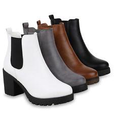 Damen Stiefeletten Chelsea Boots Plateau Booties Profil 823678 Schuhe