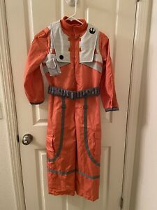 Disney Store Star Wars Poe Dameron Costume X-Wing Fighter Pilot Suit Size 7-8
